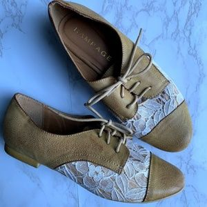Rampage Tan and Lace Shoes Oxford flats Size 8